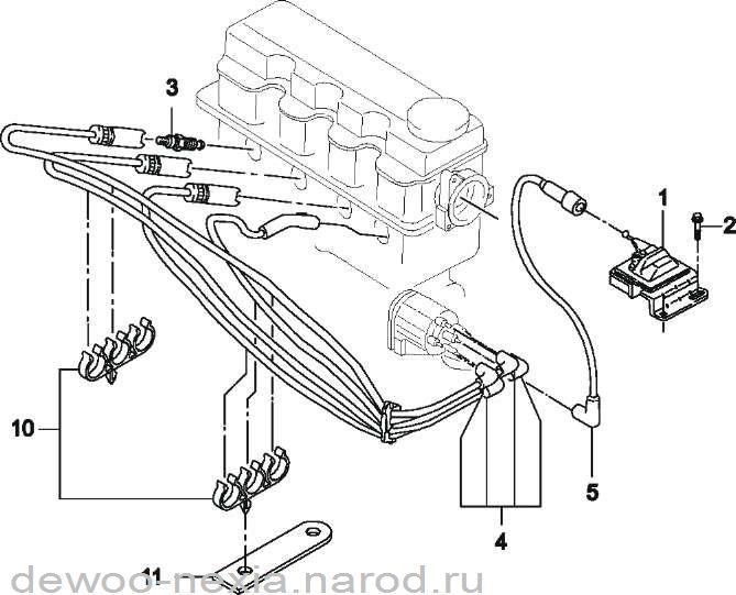 Схема катушка зажигания дэу нексия 16 клапанов